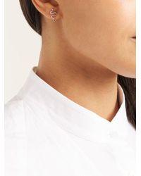 Ileana Makri - Metallic Diamond, Sapphire & Rose-gold Snake Earrings - Lyst