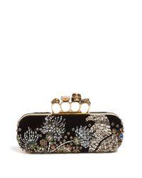 Alexander McQueen - Black Crystal-embellished Velvet Knuckle Clutch - Lyst