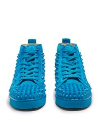 Christian Louboutin - Blue Louis Spike-embellished High-top Trainers for Men - Lyst