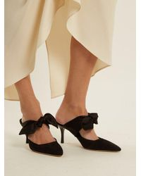 The Row - Black Coco Satin-bow Suede Mules - Lyst