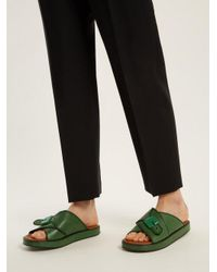 Joseph - Green Crossover Buckle-detailed Leather Flatform Slides - Lyst