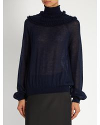 Chloé - Blue Gathered Semi-sheer Sweater - Lyst