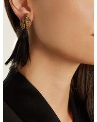 Lanvin - Multicolor Feather-embellished Swan Single Earring - Lyst