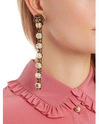 Gucci - Metallic Pearl-effect Embellished Lion Earrings - Lyst