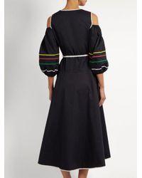Anna October - Black Ric-rac Trimmed Cold-shoulder Cotton Dress - Lyst