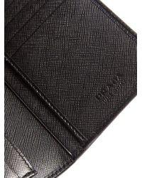 Prada - Black Logo-debossed Saffiano-leather Wallet for Men - Lyst