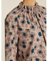 Marni - Multicolor Grasses-print Ruffled-neck Twill Blouse - Lyst