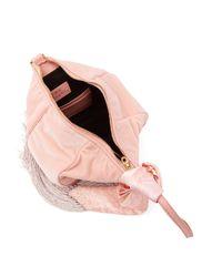 Hillier Bartley Pink Lantern Fringed Velvet Clutch