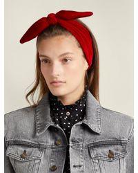 House of Lafayette - Red Tie Bow Velvet Headband - Lyst