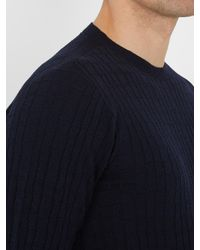 Giorgio Armani - Blue Square-knit Wool-blend Sweater for Men - Lyst