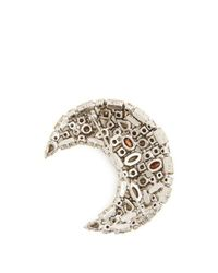 Saint Laurent - Metallic Moon Crystal-embellished Brooch - Lyst