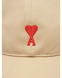 AMI - Natural Logo Embroidered Cotton Cap for Men - Lyst