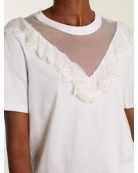 Chloé - White Mesh-insert Ruffled Cotton Top - Lyst