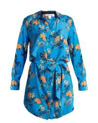 Diane von Furstenberg - Blue Floral-print Silk Dress - Lyst