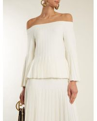 Jonathan Simkhai - White Off-the-shoulder Pleated Knit Top - Lyst