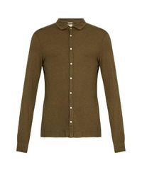 Massimo Alba - Green Spread-collar Cotton And Cashmere-blend Shirt for Men - Lyst