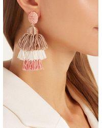 Oscar de la Renta - Pink Tiered Tassel-drop Clip-on Earrings - Lyst