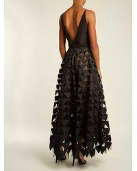 Oscar de la Renta Black Triangle Appliqué V-neck Silk-faille Gown