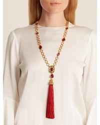 Oscar de la Renta | Red Crystal-embellished Pendant And Tassel Necklace | Lyst