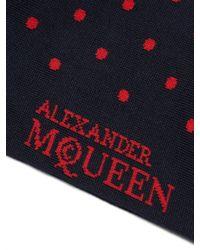 Alexander McQueen - Blue Polka-dot Jacquard Cotton-blend Socks for Men - Lyst