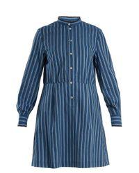 A.P.C. - Blue Lili Striped Cotton-twill Shirtdress - Lyst