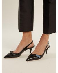 Prada Black Logo Bow-embellished Kitten-heel Leather Pumps