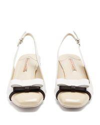Sophia Webster - White Andie Bow-embellished Leather Slingback Pumps - Lyst