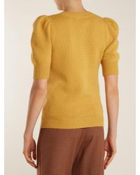 Chloé - Yellow Iconic Puff-sleeved Cashmere Sweater - Lyst
