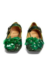 Toga - Green Sequin Square-toe Embellished Ballet Flats - Lyst