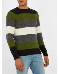 AMI - Green Striped Alpaca-blend Sweater for Men - Lyst