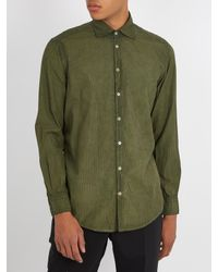 Massimo Alba - Green Point-collar Striped Cotton Shirt for Men - Lyst