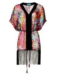 Matthew Williamson   Pink Rainbow Akita Animal Silk Fringed Kaftan   Lyst