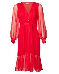 Matthew Williamson | Red Silk V-neck Long Sleeve Dress | Lyst