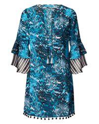 Matthew Williamson   Tiger Palm Blue Silk Poppy Dress   Lyst