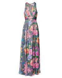Matthew Williamson | Gray Duchess Garden Grey V Neck Silk Gown | Lyst