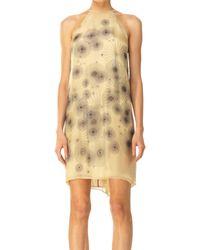Leon Max - Natural Printed Silk Chiffon Halter Dress - Lyst