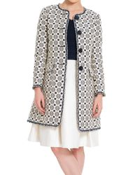 Leon Max | Blue Floral Jacquard Coat With Short Fringed Trim | Lyst