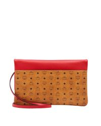 MCM - Red Corina Crossbody Clutch In Visetos Block Leather - Lyst