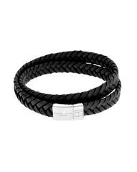 Tateossian | Metallic Slide Cobra Double Bracelet 39 Cm In Silver And Black Leather for Men | Lyst