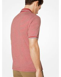 Michael Kors - Red Greenwich Striped Cotton Polo Shirt for Men - Lyst