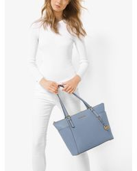 Michael Kors - Blue Jet Set Large Top-zip Saffiano Leather Tote - Lyst