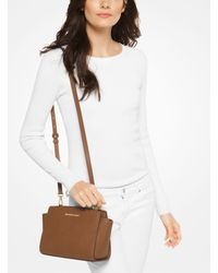 Michael Kors | Brown Selma Medium Saffiano Leather Messenger | Lyst