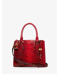 Michael Kors | Red Casey Small Python Satchel | Lyst