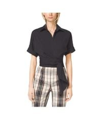 Michael Kors - Black Cropped Cotton-poplin Tie Shirt - Lyst