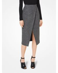 3414776ec2 Michael Kors. Women's Gray Houndstooth Shetland Wool-blend Scissor Skirt