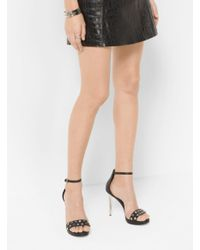 Michael Kors | Black Valencia Studded Leather Sandal | Lyst