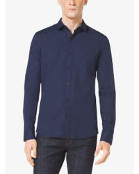 Michael Kors - Blue Slim-fit Stretch-cotton Shirt for Men - Lyst