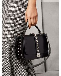 Michael Kors - Black Mia Studded French Calf Shoulder Satchel - Lyst