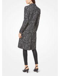 Michael Kors   Black Snow Leopard Jacquard Coat   Lyst