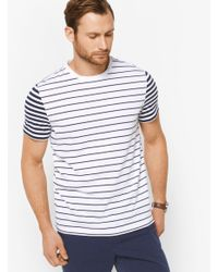Michael Kors - White Striped Cotton T-shirt for Men - Lyst